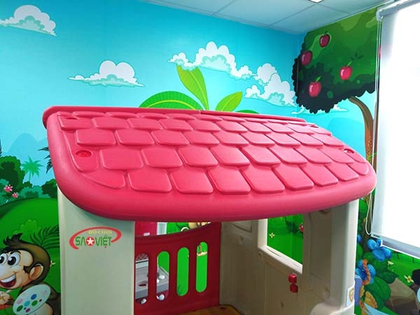 mái nhà chơi cầu trượt S03NM028 cho bé mầm non