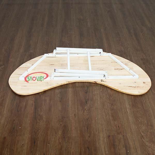 bàn bán nguyệt gỗ mầm non chân gấp S013VD2K 3