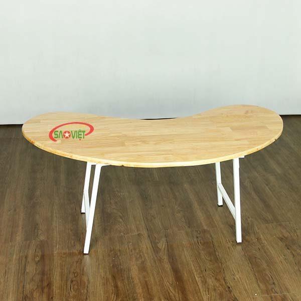 bàn bán nguyệt gỗ mầm non chân gấp S013VD2K 1