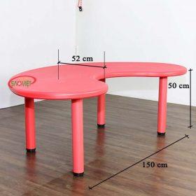 kích thước bàn bán nguyệt mầm non nhựa đúc S013ND
