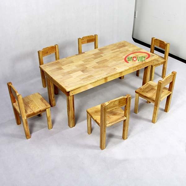 bàn học cho bé mầm non bằng gỗ 6 chỗ S013VF04
