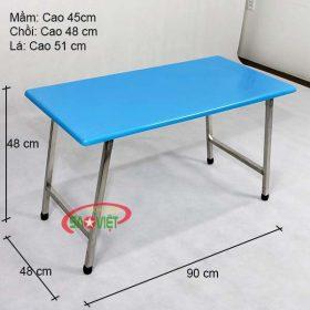 kích thước bàn mặt nhựa composite chân inox S012VC2