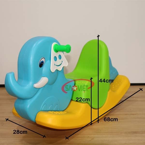 kích thước bập bênh con voi bằng nhựa S04NA34