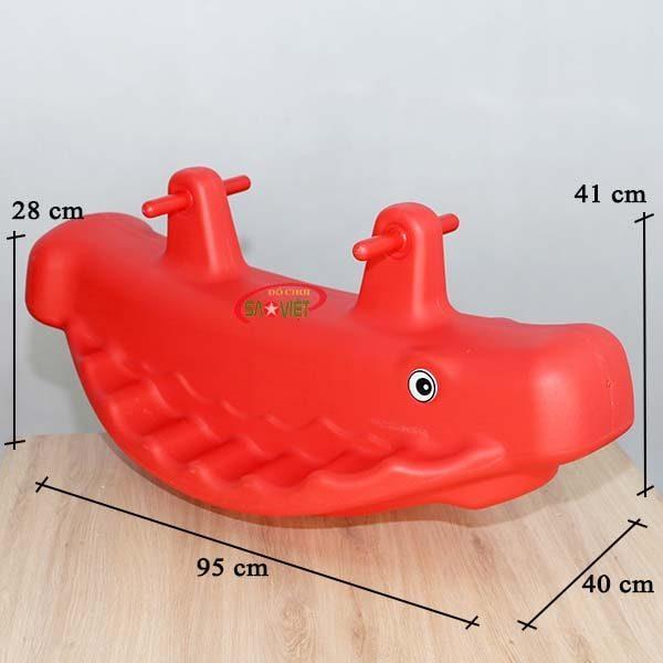 kích thước bập bênh nhựa đôi cá voi S04NB51