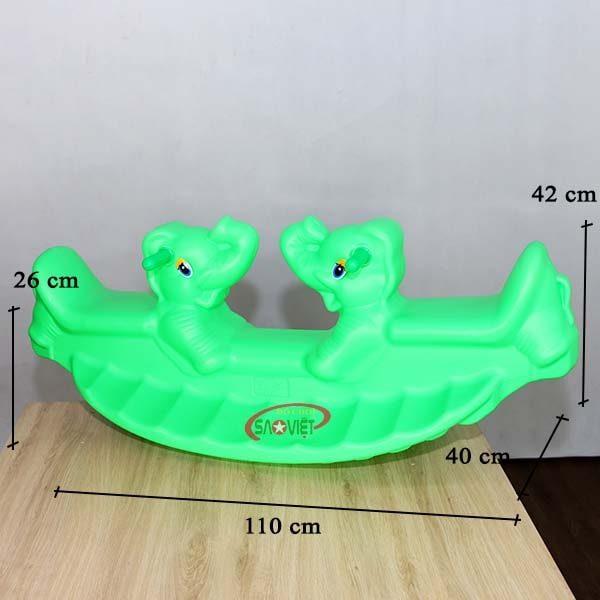 kích thước bập bênh nhựa đôi con voi S04NB01