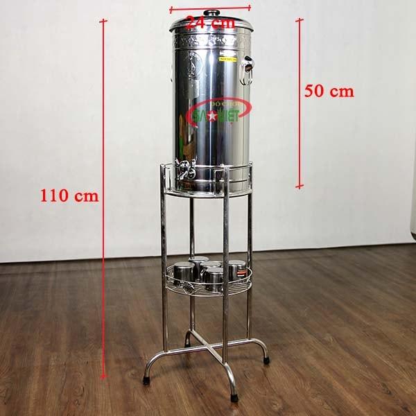 kích thước bình đựng nước inox 20 lít có vòi MN561010