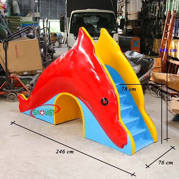 kích thước cầu trượt nước cá heo cho bé s03v120