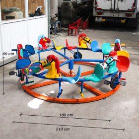kích thước đu quay ngựa 6 con 12 chỗ đạp xe trên đường ray s06v03