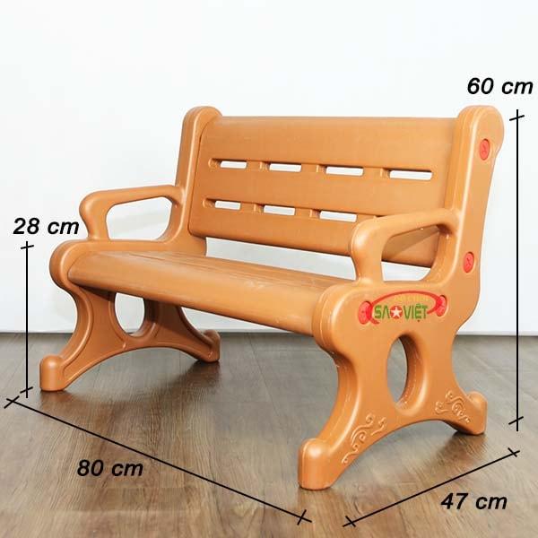 kích thước ghế băng dài nhựa mầm non cao cấp S012NM