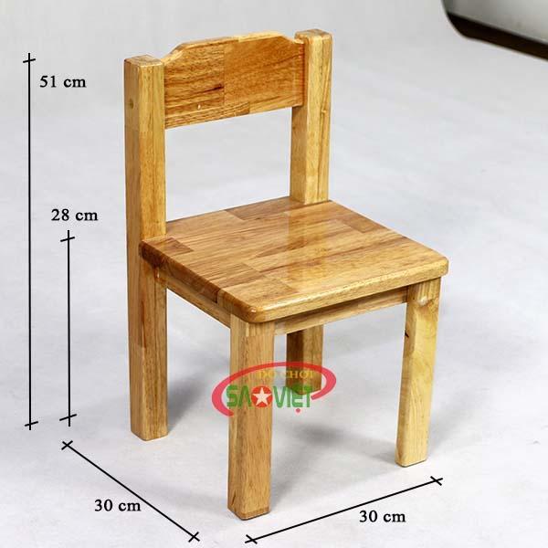 kích thước ghế gỗ cho bé mầm non S012VD3
