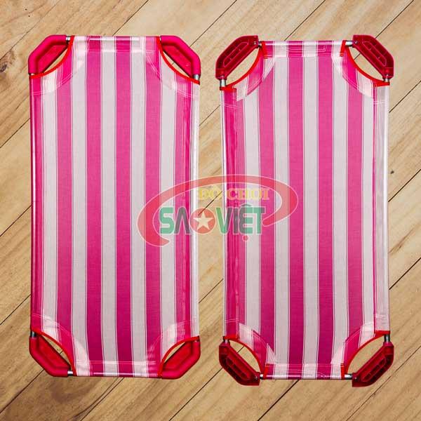 giường lưới cho bé sơ sinh mầm non Pepsi sọc trắng hồng S011V0A