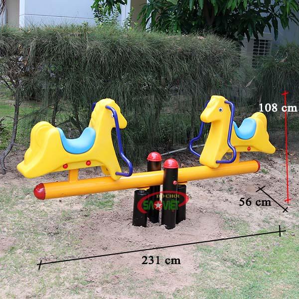 kích thước bập bênh công viên 2 con ngựa s04np73