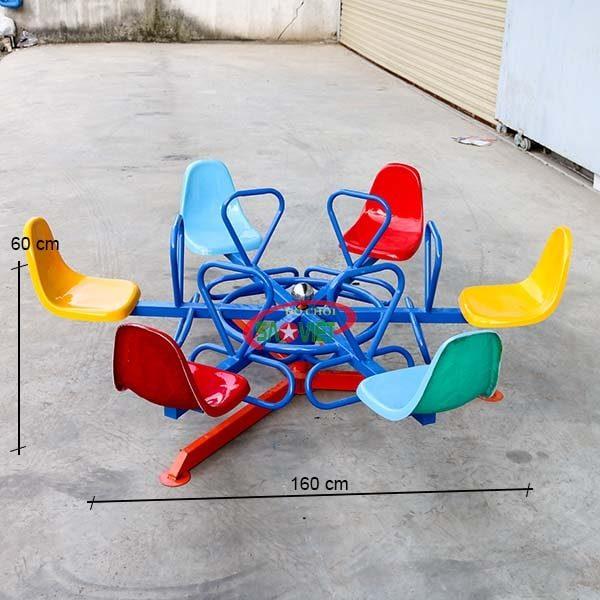 kích thước đu quay mầm non 6 ghế s06v02