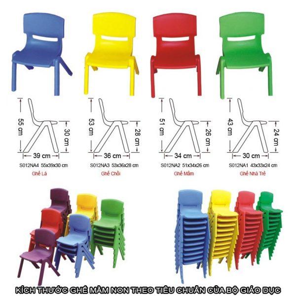 tiêu chuẩn chiều cao ghế nhựa mầm non