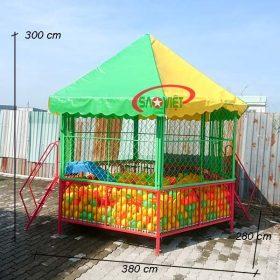 kích thước nhà banh lục giá trẻ em mầm non s08v15