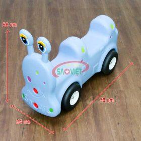 kích thước xe chòi chân cho bé 2 chỗ ốc sên s18n13