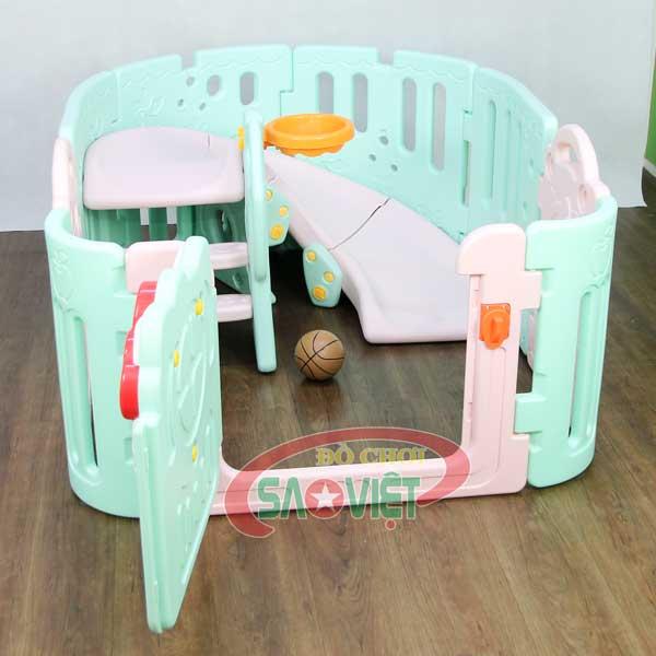 nhà banh mini cho bé có cầu trượt bóng rỗ Kitty S08N12C