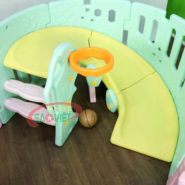 nhà banh mini cho bé có cầu trượt bóng rỗ S08N12B