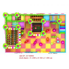 kích thước khu vui chơi liên hoàn trong nhà mini gấu pooh s17m004