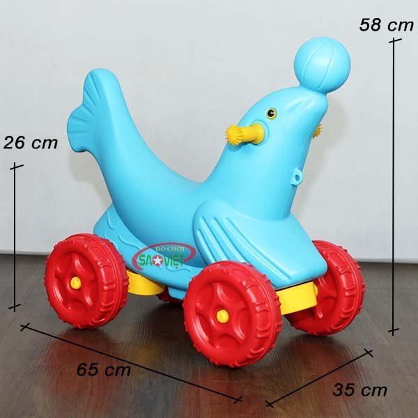 kích thước xe chòi chân cho bé con cá heo dễ thương S18N30