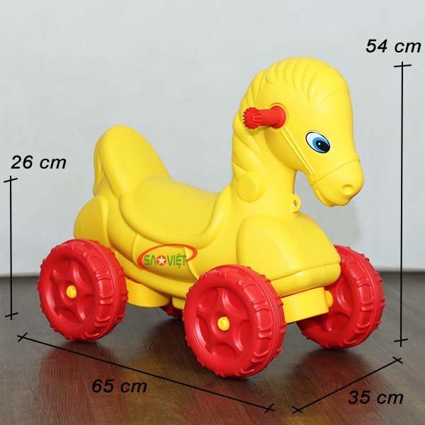 kích thước xe chòi chân con ngựa vàng dễ thương S18N28