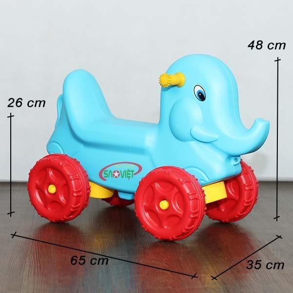 kích thước xe chòi chân con voi xanh cho bé S18N27