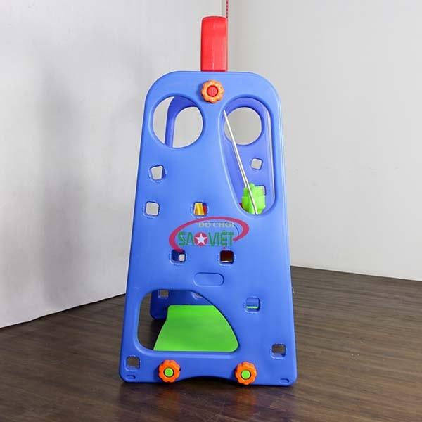 cầu trượt xích đu cho bé màu xanh